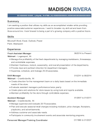 assistant manager skills walmart fresh assistant manager resume sample lafayette indiana