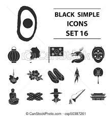 韓国 セット アイコン 大きい シンボル コレクション ベクトル 黒 イラスト Style 南 株