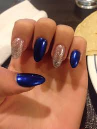 Blue And Silver Toe Nail Designs Blue And Silver Pointy Nail Set Want The Colors Used