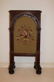 needlepoint french fireplace screen antique oak carved 19th century original