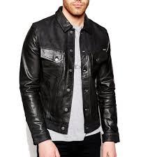 shirt style men leather jacket