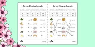 Phonetic quizzes as worksheets to print. Spring Missing Sounds Worksheet Teacher Made
