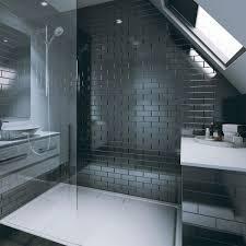 multipanel tile panel black gloss brick effect vertical bevelled shower panels