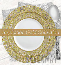 disposable fine dining plates. elegant wedding party disposable plastic plates inspiration white - gold 10pc fine dining