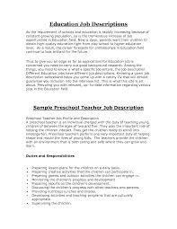 Sensational Design Preschool Teacher Job Description Sample Teachers