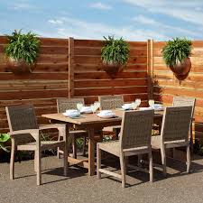 Matalinda Expandable Rectangular Teak Outdoor Table Set Outdoor