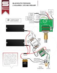 wiring diagrams seymour duncan part 32 blackouts for bass 2 volumes and stc bo preamp
