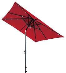 solar powered patio umbrella with led lights tilt and crank 7 offset transitional outdoor