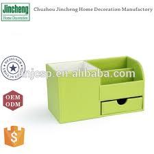 Decorative Desk Accessories Sets Delectable Decorative Green Stitching Plain Leather Office OrganizerElegant