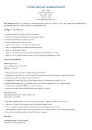 Sample Wellness Specialist Resume Resume Wellness Sample