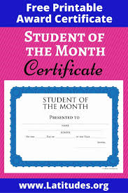 Student Of The Month Certificates Free Student Of The Month Achievement Certificate Intermediate