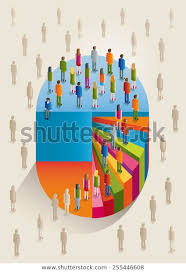 Color Volume Chart People Climbing Stairs Stock Vector
