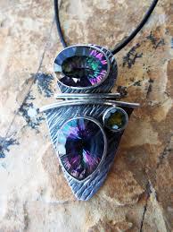 mystic topaz peridot pendant silver necklace handmade gemstone sterling 925 stone dark antique vintage jewelry μενταγιόν