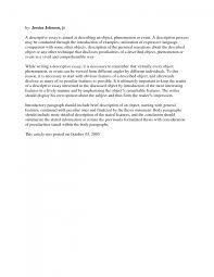 sample of a descriptive essay co sample
