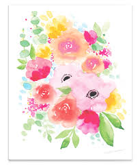 watercolor floral painting wall art print www mospensstudio  on watercolor floral wall art with elegant custom watercolor wedding invitations stationery