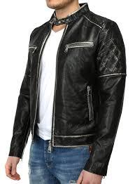 x feel men faux leather jacket power black p37207 new