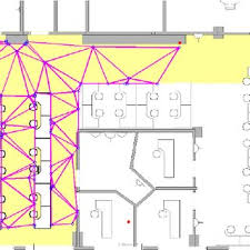 floor plan of the office. Floor Plan, Modified Reference Grid, And Delaunay Triangulation. Plan Of The Office