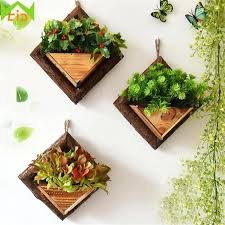 handmade frame succulent plants wooden wall mounted artificial flower pot wood hanging pots off the