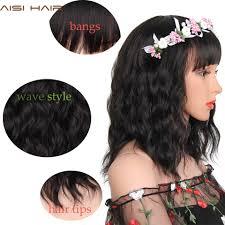 Aisi Haar Synthetische Perücke Kurze Haare Perücken Mit Pony Wasserwelle Schwarz Für Frauen Hohe Temprerature Faser