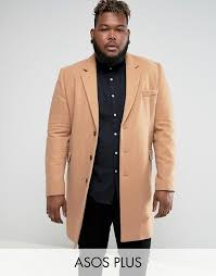 men s asos plus wool mix overcoat in camel j64q3