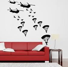 X Black Army Soldiers Helicopter Troops Parachute Plane Wall Decals Wall  Sticker Baby Wallpaper Art Nursery Boys Room Home Decoration  Brand£ºColorfulHall