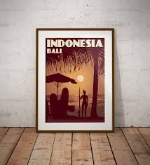 Tropical scene online store based in adelaide since 2005. Vintage Poster Indonesia Bali Kuta Beach Wall Art Decor Travel Poster Fine Art Print Vintage Poster