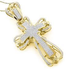 mens diamond cross pendant 2 16ct 10k gold yellow image