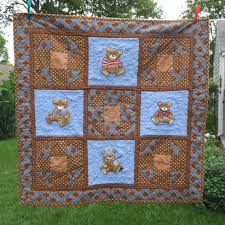 Handmade Baby Quilt Teddy Bears embroidered and pieced with ... & Handmade Baby Quilt Teddy Bears embroidered and pieced with flannel backing  brown and blue #handmade Adamdwight.com