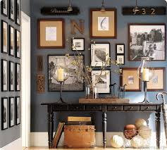 home office dark blue gallery wall. traditional hallway with tivoli large console table artisanal black stain high ceiling pendant light gallery wall paint 1 home office dark blue c