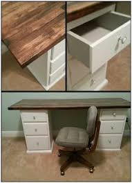 homemade office desk. diy office desk made from thrift store nightstands and butcher block counter top love the homemade m