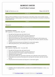 Lead Medical Assistant Resume Samples Qwikresume