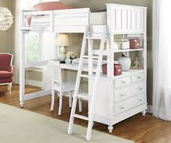 image of awesome white loft bed with desk