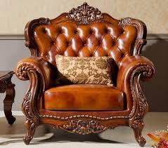 leather sofa chair. Hand Carving Wood Leather Sofa Chair N