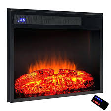 full image for infrared electric fireplace insert black firebox heater with remote quartz life smart