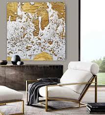 white gold abstract print gold leaf painting julia apostolova modern wall decor  on large white and gold wall art with white gold abstract print large wall art home decor minimal