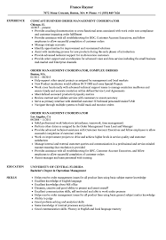 Comcast Resume Sample Order Management Coordinator Resume Samples Velvet Jobs 28