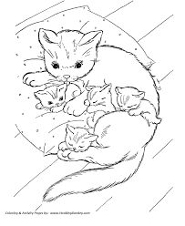 Small Picture Cat Coloring page Cat and Kittens on Pillow Coloring page