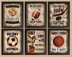 famous sports quotes set of 6 photo prints poster wall art vintage golf hockey soccer baseball football basketball boys room decor on vintage sport wall art with vintage sports decor bing images inspiration pinterest