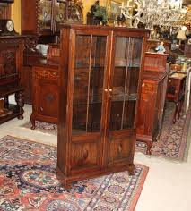english antique display cabinet. English Antique Oak Two Glass Door Tall Narrow Wooden Bookcase Display Cabinet