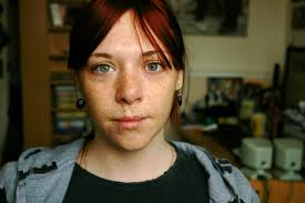Chubby redhead with freckles
