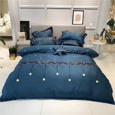 4 luxury blue stereoscopic stars embroidery egyptian cotton bedding set duvet cover bed sheet pillowcases queen king size twin comforter sets king