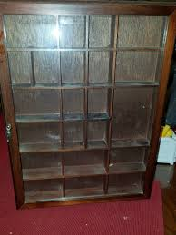 vintage wooden small display curio cabinet miniatures glass door wall hanging 1 of 6 see more