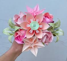 Paper Flower Bouquet Etsy Peach And Pink Origami Flowers Paper Flower Bouquet Alternative Bridal Bridesmaids Bouquet 1st Wedding Anniversary Gift For Her
