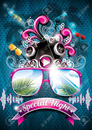 Part Flyer Vector Summer Beach Party Flyer Design With Speakers And Sunglasses