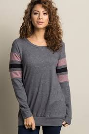Grey <b>Colorblock Striped Sleeve</b> Sweater | Casual pullover, Fashion