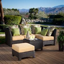 awesome wicker patio set for your patio furniture ideas trendy l shape brown wicker outdoor