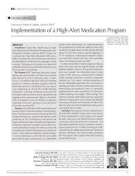 Pdf Implementation Of A High Alert Medication Program
