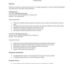 resume technician maintenance brilliant design sample resume for maintenance technician