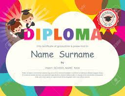 preschool elementary school kids diploma certificate background  preschool elementary school kids diploma certificate background design template stock vector 51788562