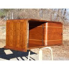Vintage Walnut Art Deco Waterfall Table Top Petite Mini Bar Liquor Cabinet